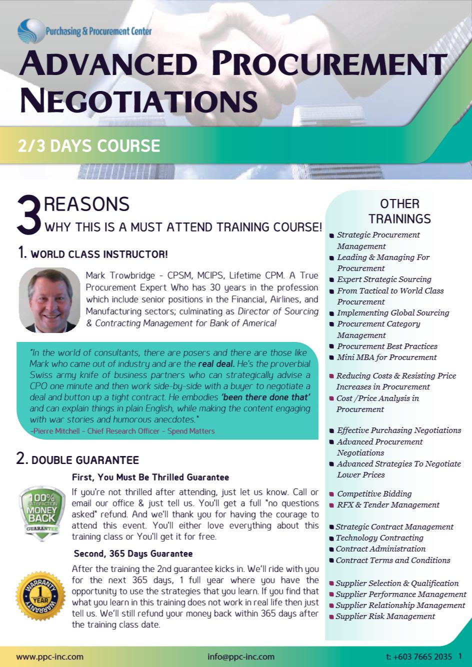 advanced procurement negotiations training course