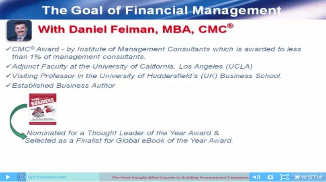 Daniel Feiman Financial Management Goals Procurement Video