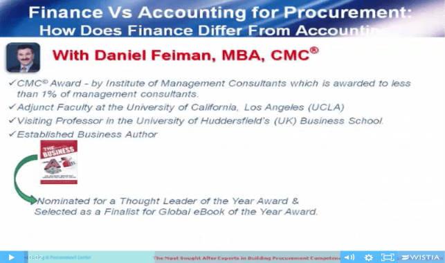 Daniel Feiman Finance vs Accounting For Procurement Video