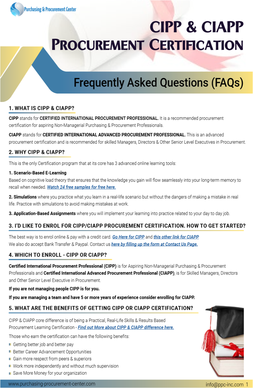 cipp faqs procurement certification frequently asked questions regarding answers