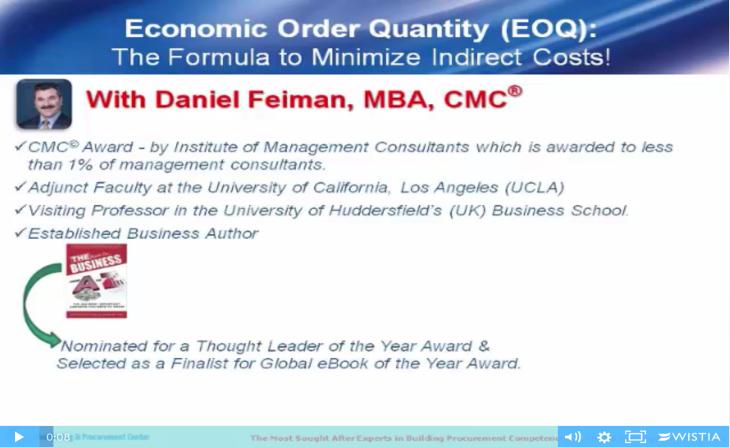 Economic Order Quantity (EOQ) For Procurement